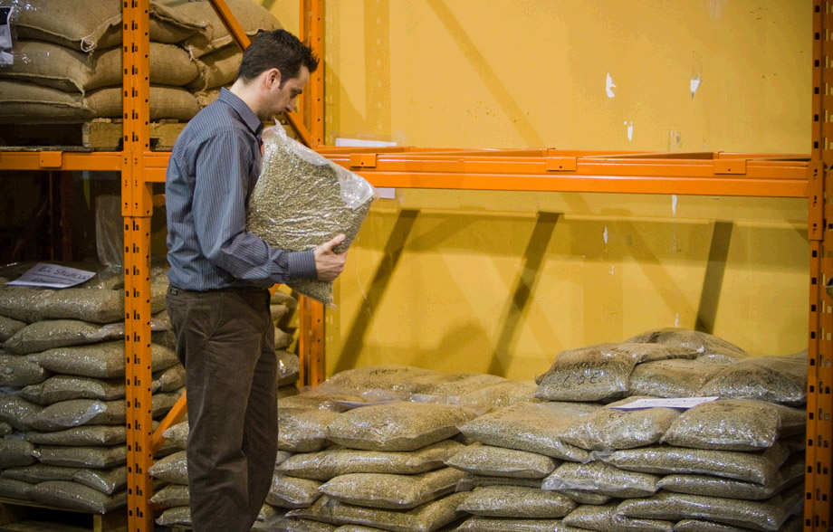 Russ looking over repacked CoE coffees