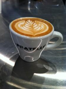 latte art Fratello Analog Cafe Rosetta