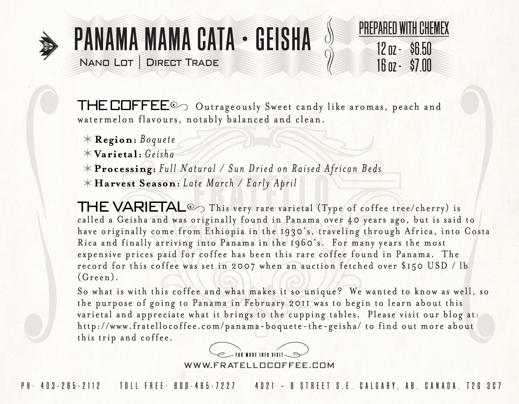 Panama Mama Cata Natural Geisha