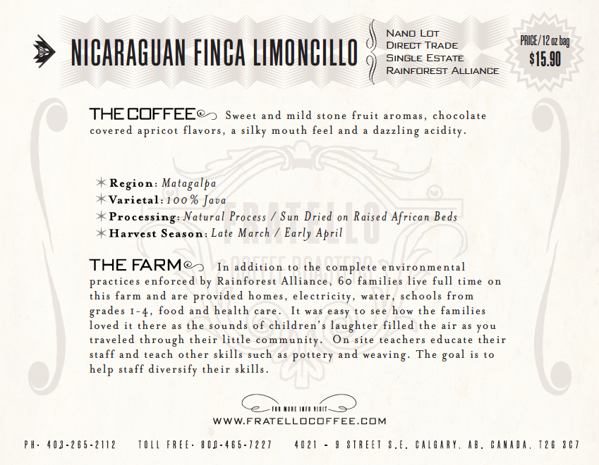 Nicaraguan Java Natural coffee card Fratello Analog cafe